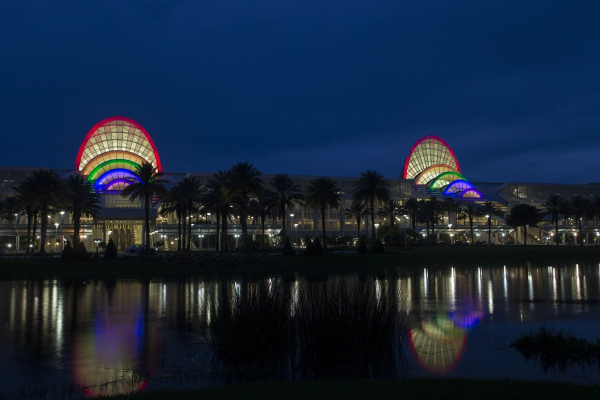 🌈 The @OCCC is lit in rainbow lights tonight to honor the 49. #OrlandoUnited