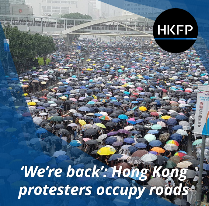 Video: Tens of thousands of Hong Kong anti-extradition law protesters are blocking roads around gov't HQ as bill meeting postponed.  Full coverage: http://bit.ly/extraditionhk   #NoToChinaExtradition