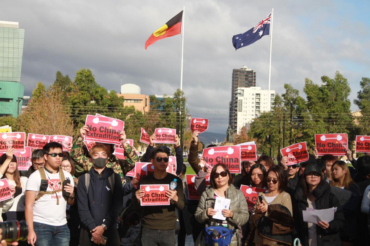 #LIVE: In Adelaide, Australia, about 150 including international students have gathered to protest against the extradition bill. They hope to press Canberra to oppose the bill. https://t.co/fpKl8rH1bn #extraditionbill https://t.co/sw1nFlR81D