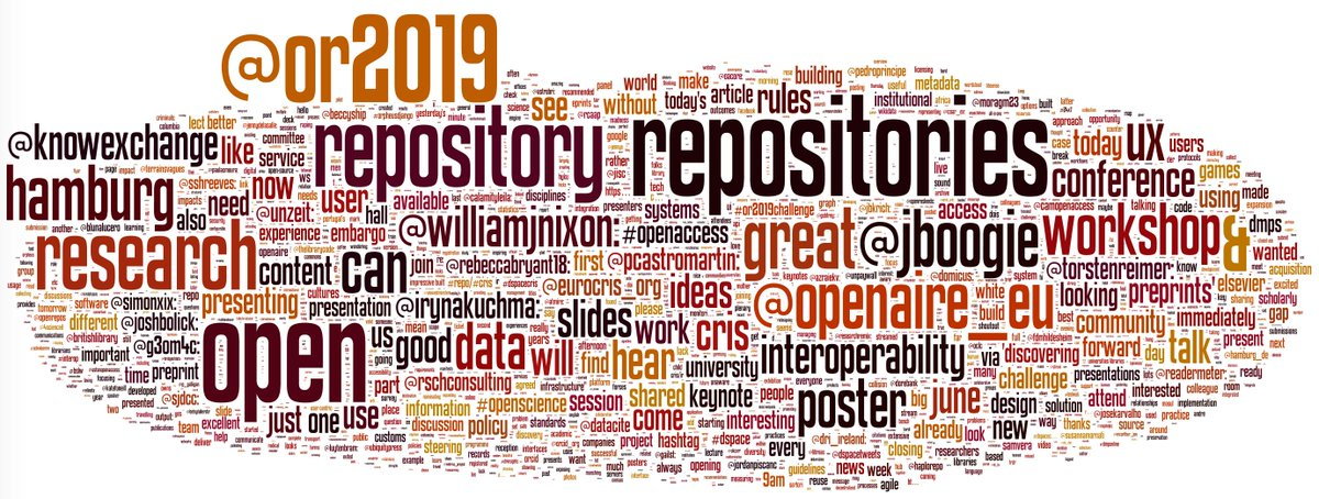 A Wordle snapshot of #OpenRepo2019 tweets taken at 8:15am this morning - Wednesday 12th June (excluding common English words and single instances) Thanks to @wfyson from @eprints for the data