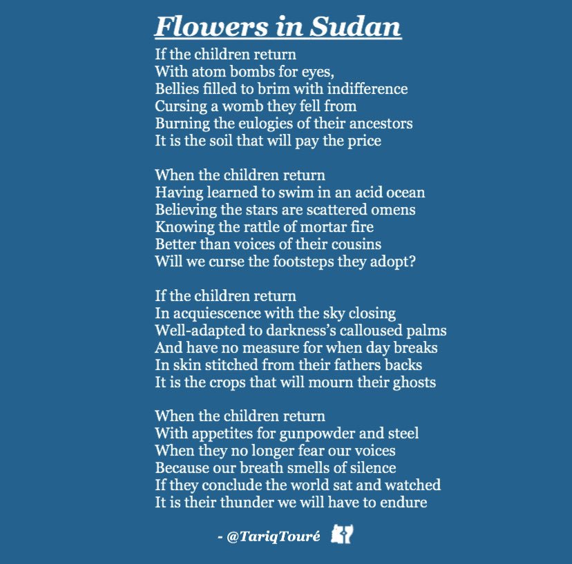 """I wrote """"Flowers in Aleppo"""" when the Syrian refugee crisis washed children on to the shoreline.   I changed it to """"Flowers in #Sudan """" because tyranny is washing babies on to the shoreline of the Nile.   Donate to support  https:// m.facebook.com/nt/screen/?par ams=%7B%22fundraiser_campaign_id%22%3A977085802497357%2C%22source%22%3A%22external_url%22%7D&path=%2Ffundraiser%2F&refsrc=https%3A%2F%2Fm.facebook.com%2Fdonate%2F977085802497357%2F&_rdr  … <br>http://pic.twitter.com/OUb67gW1Zr"""