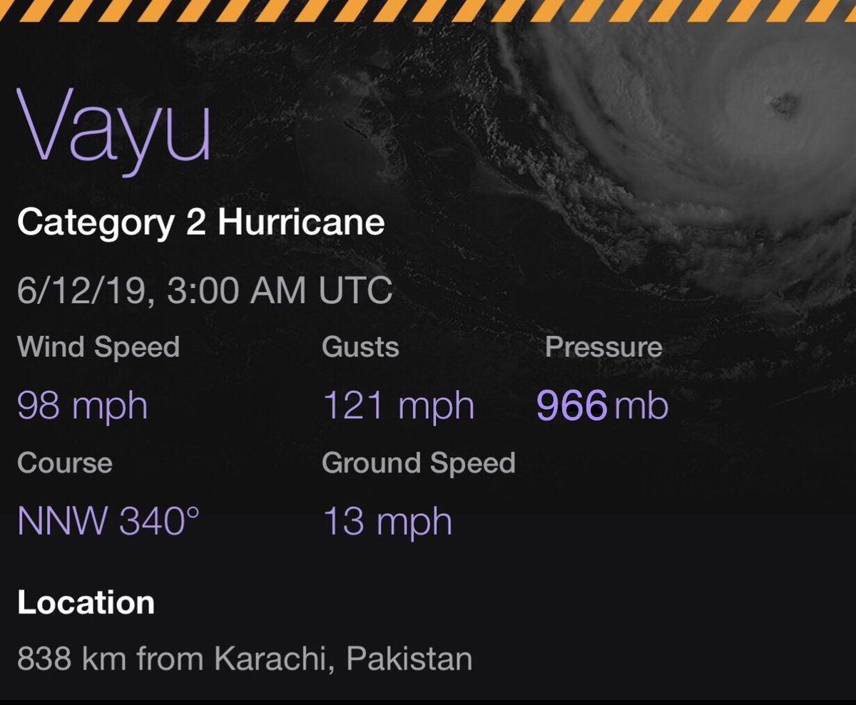 BREAKING: #CycloneVayu has strengthened to a low-end Cat 2 storm, with 100mph winds, and a pressure of 966mb. The overall character of the storm looks more impressive. Some models do want to bring this to Cat 4 status, not to be surprised if it happens. Be ready for this people.