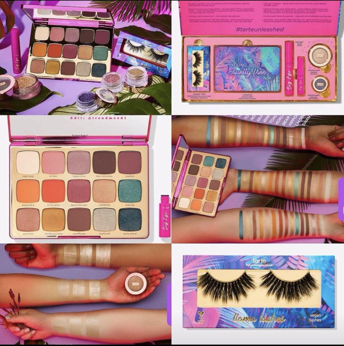 JUST Dropped!  LINK   http:// bit.ly/2F3bNck     Online #tartecosmetics  NEW #Collection includes:  -Unleashed #EyeshadowPalette + travel-size big ego mascara $39 -tarte-LIT chrome paint highlighter $30 -llama lashes $12 -chrome paint shadow pot New Shades $22 -vault $105 <br>http://pic.twitter.com/USmVmRyplI