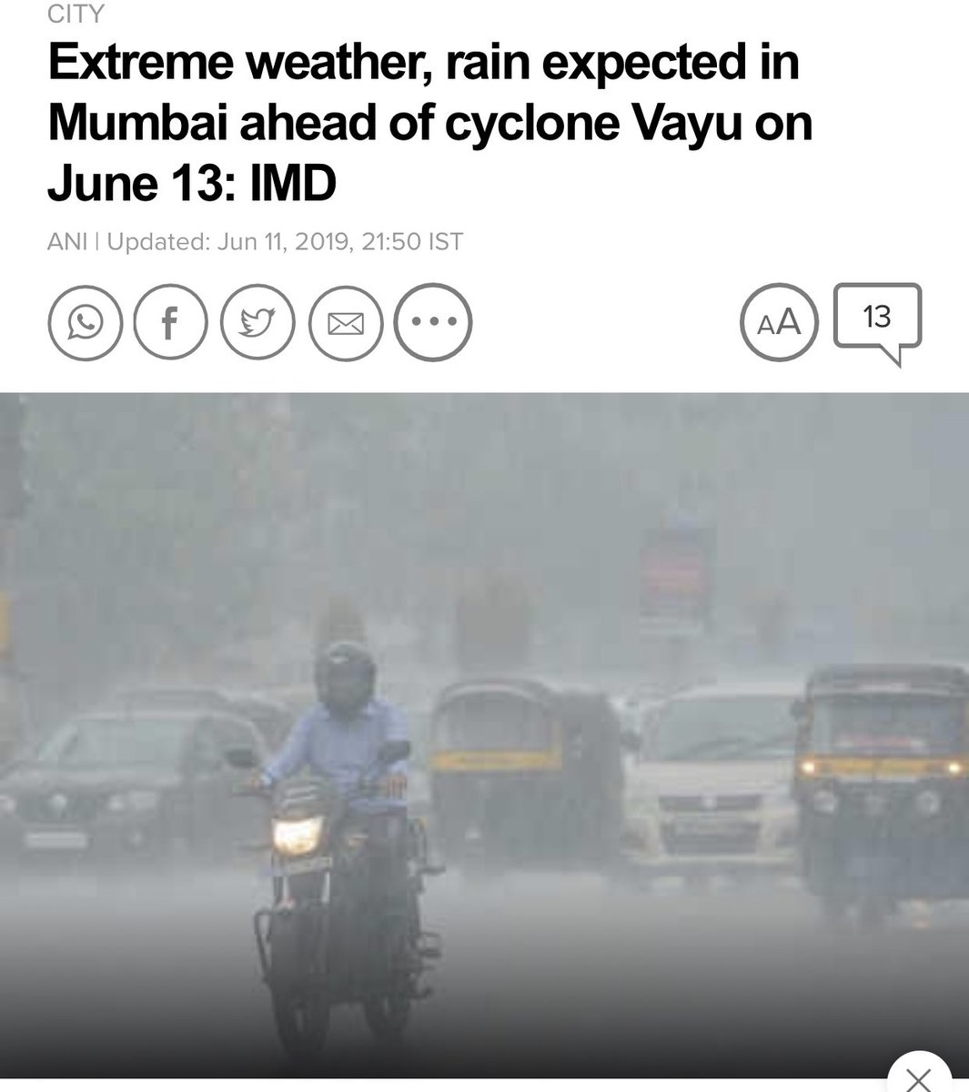 Everyone please be alert and safe during #VayuCyclone . Just a request. Please please spare a little thought for the stray animals on the streets. Please give them shelter in any ways possible by you. I do my bit always. Requesting everyone to come forward too #CycloneVayu