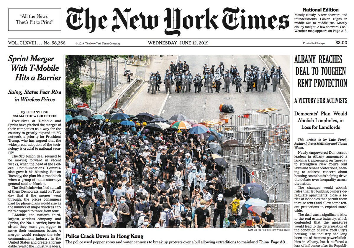 Hong Kong protests on the front page of Wednesday's New York Times Live coverage here https://www.nytimes.com/2019/06/12/world/asia/hong-kong-protest-extradition.html…
