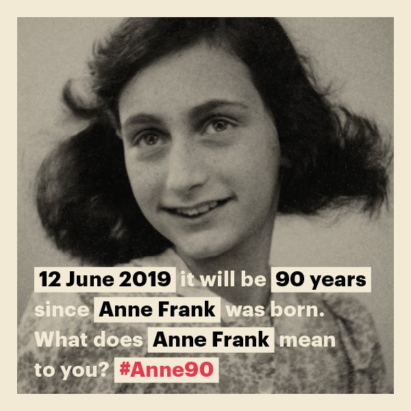 Today, it is exactly 90 years ago that Anne Frank was born, on 12 June 1929. #OnThisDay we also reflect on Anne Frank's life and legacy in other places and in other ways; read more: https://www.annefrank.org/en/about-us/news-and-press/news/2019/6/12/today-anne-franks-90th-birthday/ …What does #AnneFrank mean to you? Share it with us! #Anne90 #RT