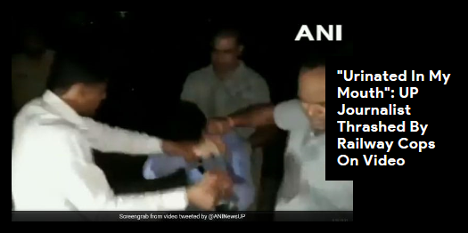 """Lead story now on http://ndtv.comA journalist covering the derailment of a train in UP's #Shamli is slapped and abused by policemen. """"I was locked up, stripped and they urinated in my mouth,"""" the journalist said.Read here https://www.ndtv.com/india-news/uttar-pradesh-journalist-amit-sharma-thrashed-by-railway-police-on-video-in-shamli-2051849…#NDTVLeadStory"""