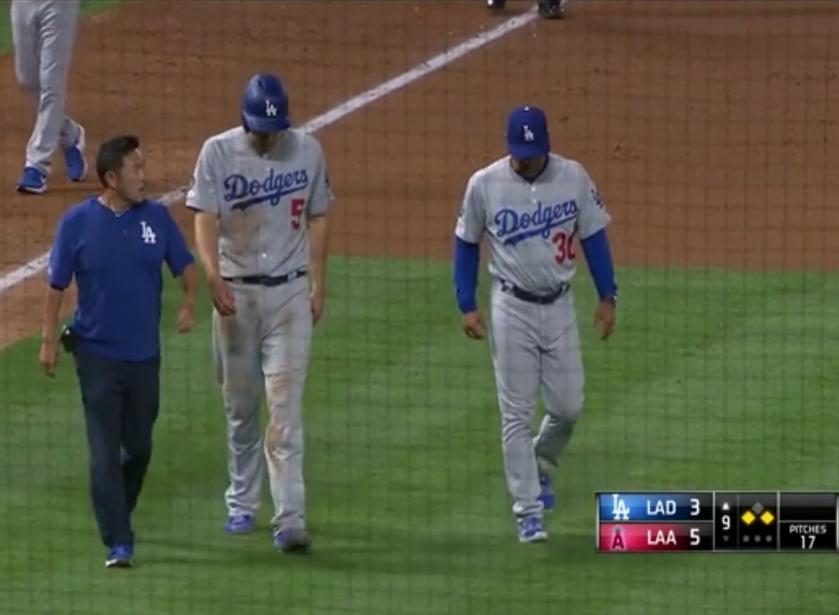 Corey Seager cramps up in the 9th?