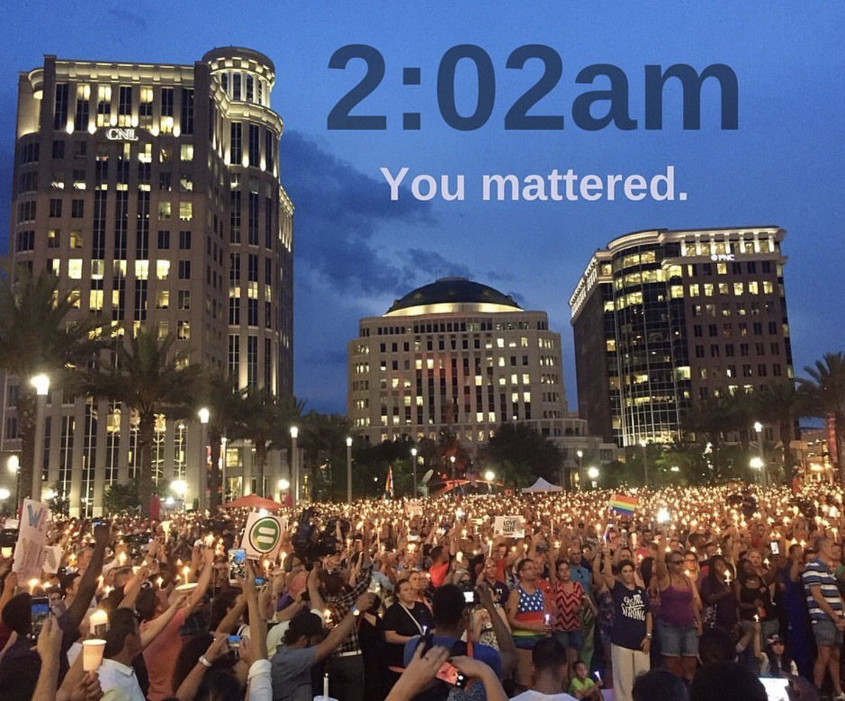 It's 2:02 am.We Remember!We honor you with Action!We will never Forget! ❤️💙💜💛💚#pulsenightclub #orlandostrong #forthe49 #neverforget