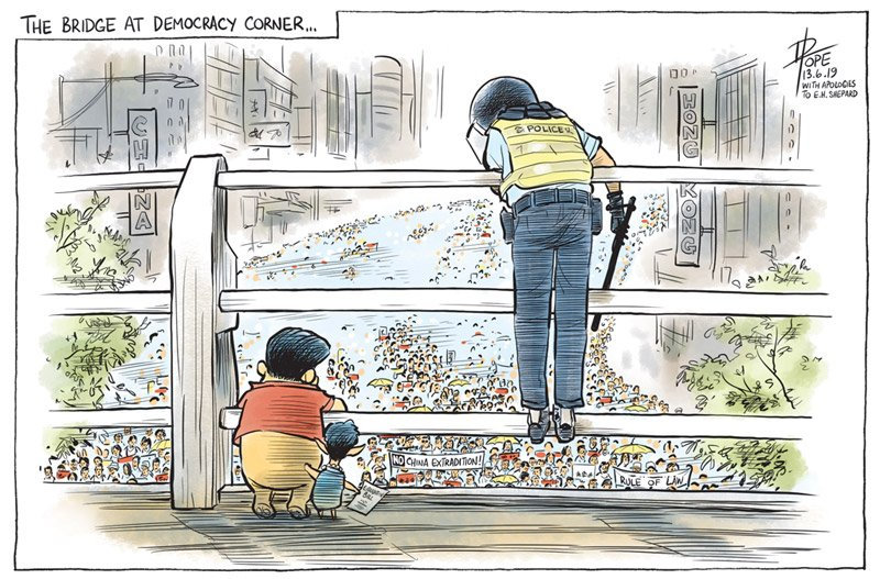 The Bridge at Democracy Corner <my cartoon on the #HongKong #ExtraditionBill protests for the @canberratimes>