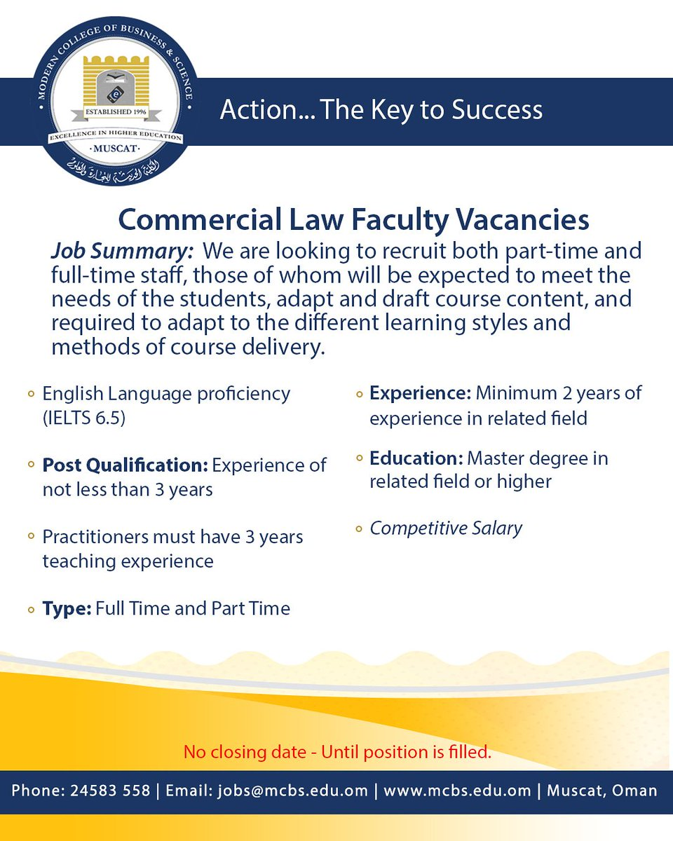 Become a part of the MCBS family! #MCBS #ModernCollege #Oman #Muscat