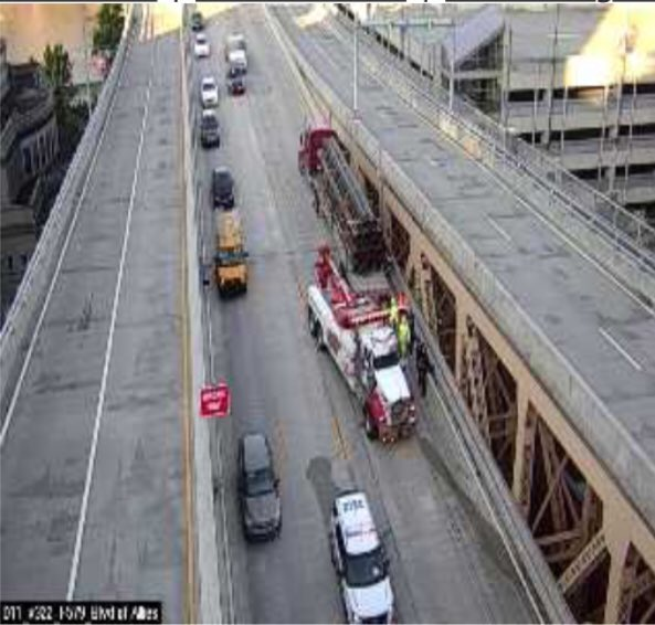 Huge inbound delays on the Liberty Bridge thank to a tractor trailer that pinned a car against the concrete barrier. My experience says inbound Liberty Tunnel traffic should take McArdle Rd to 10th St Bridge and Rt. 51 traffic get to Brownsville Rd to 18th St to Birmingham Bridge