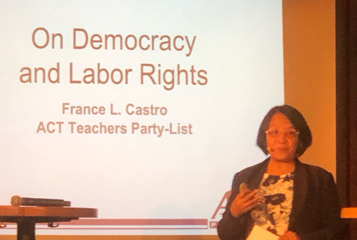 Listening to the courageous France Castro speaking puts in perspective what is at stake in the defence of workers rights and democracy in the Philippines and globally. @eduint @eduintAP @RaymondBasilio