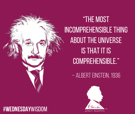 """""""The most incomprehensible thing about the universe is that it is comprehensible."""" — Albert Einstein, 1936 #WednesdayWisdom<br>http://pic.twitter.com/kk4FWbQMtD"""