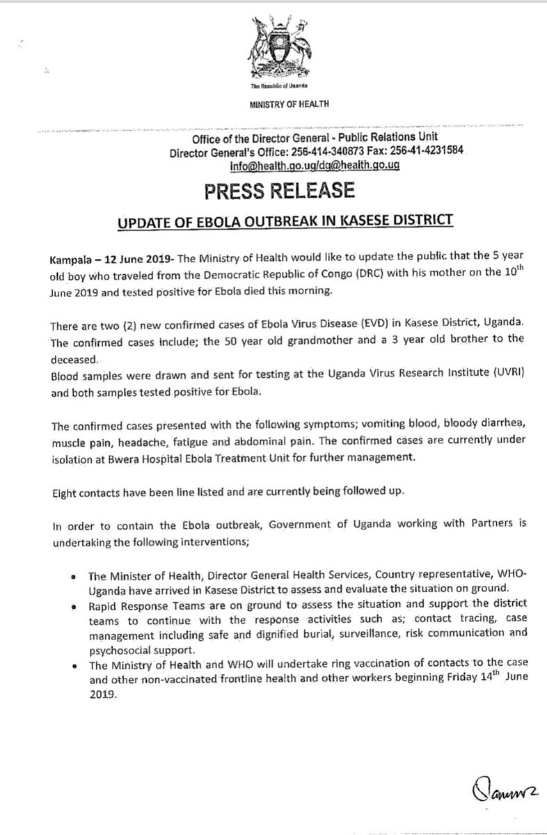 PRESS RELEASE: 5 year old boy who traveled from DRC on 10 June and tested positive for #Ebola died this morning.  2 new confirmed cases of #Ebola- grandmother and a 3y/o sibling to the deceased are currently isolated in Bwera Hospital Ebola Treatment Unit.