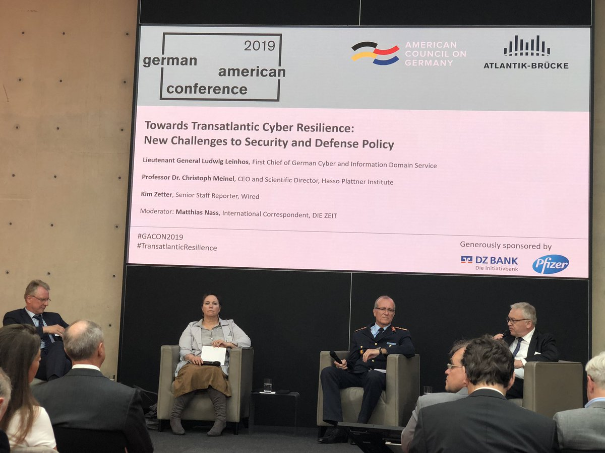 #Cybersecurity: Biggest challenge for #German First Chief of #Cyber Service General Leinhos is finding the right people - not a technical issue! #Talent #HR @BMVg_Bundeswehr CC: @joerg_asma #GACON2019 #TransatlanticResilience #Cybersicherheit
