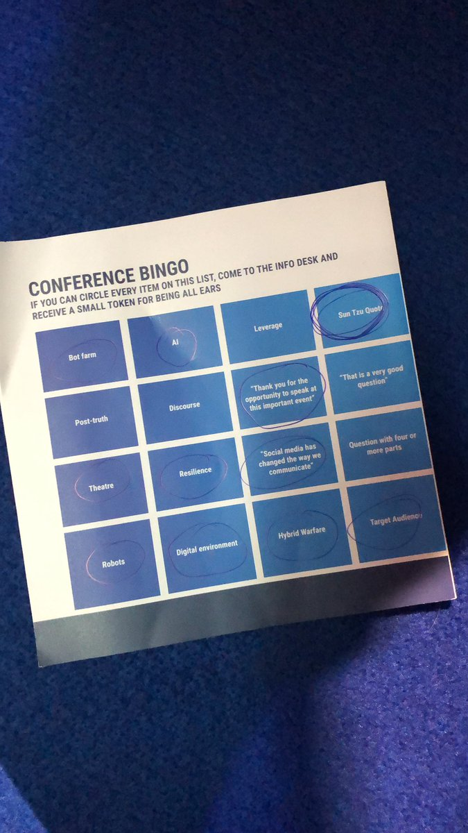 @mranti discusses big data. Perhaps time for a quote to get Conference Bingo going this morning? 'If you know your enemy and know yourself you need not fear the result of one hundred battles'.  #RigaStratCom