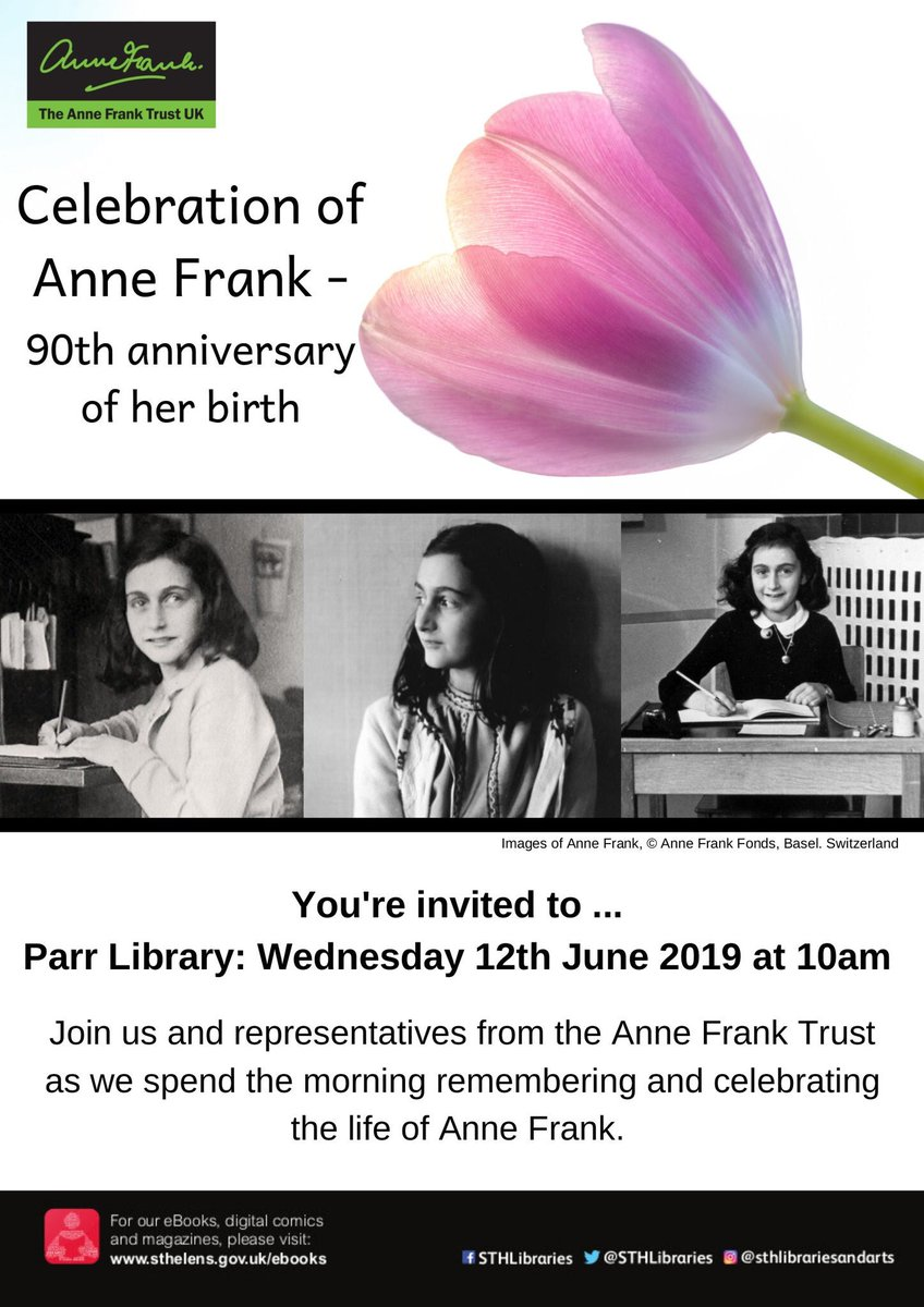 On the day that #AnneFrank would've turned 90, we'll be celebrating her life at this @STHLibraries event in #Parr. We're so fortunate to have @AnneFrankTrust working with us in St Helens to promote tolerance and tackle discrimination #IstandwithAnne #anneat90<br>http://pic.twitter.com/bti8wtYReX
