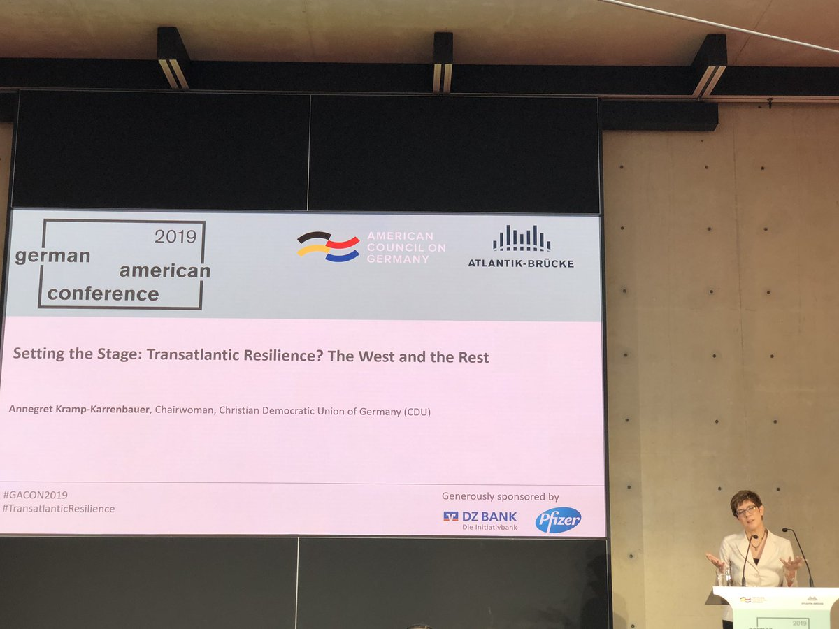 """""""We need a more self-confident #Europe"""" - @akk with opening speech at #German-#American Conference of Atlantik-Brücke e.V. / American Council on Germany in #Berlin today #GACON2019 #TransatlanticResilience"""