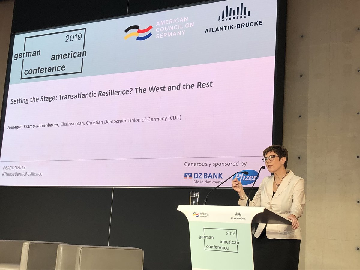 China is a competitor, but not an enemy. China's achievements can help us to become more successful. Let's hear the wake up call #akk at German American Conference @Atlantik-Brücke #GACON2019 #TransatlanticResilience