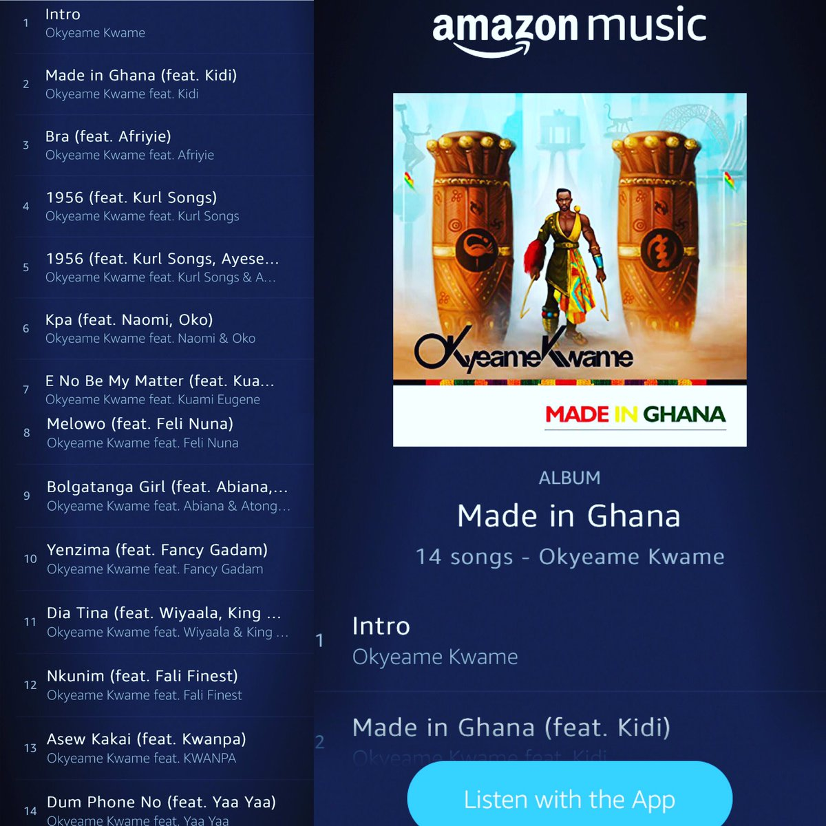 Made in Ghana Album is Available on  @amazonmusic and all digital stores . Get your copy now .   #MadeinGhana🇬🇭 #MadeinGhanaAlbum #MIG #OKmusic #ItsOK