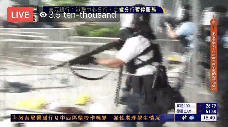[15:42]The police start shot(bean bag shot) to the protester.               #antiELAB #savehk #prayersforhk #反送中大遊行 #noextraditiontochina #HongKong #MEMES #CarrieLam