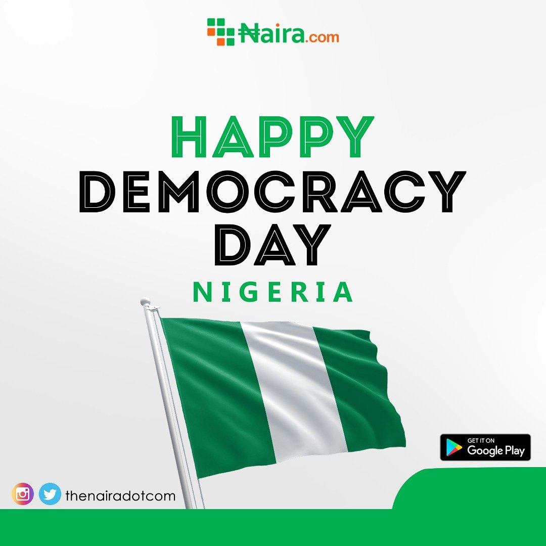 Happy Democracy day to Nigerians Home and Abroad.  Let all continue to build this great Nation together in Peace and unity.  To download the  http:// Naira.com     app.. Click the link in the bio  #NairaDotCom #NairaDotComChallenge #democracyday #nigerians #DemocracyAt20 <br>http://pic.twitter.com/oDW8ZgM0WT