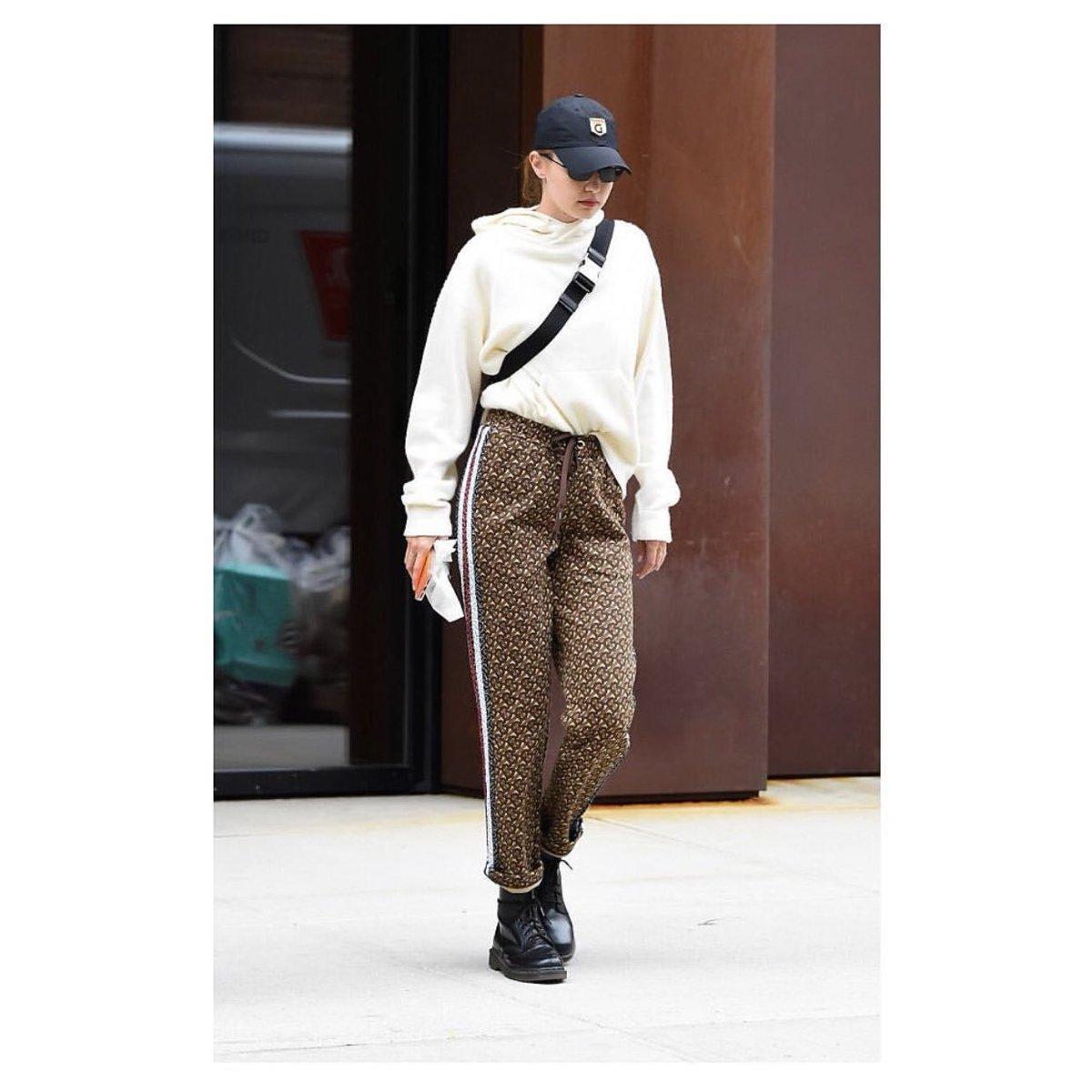 c86b531915 Gigi Hadid wore the Burberry Monogram stripe print cotton trackpants ...