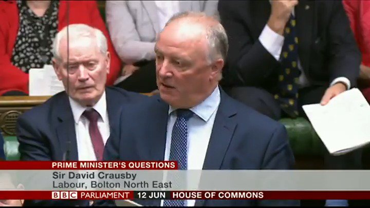 """""""It's sad to see the prime minister stepping down. But as she's going anyway, could she please take the secretary of state for transport with her?""""  Labour's Sir David Crausby blames Chris Grayling for Northern Rail's """"dreadful"""" train service  http://bbc.in/2RbeA7X #PMQs"""
