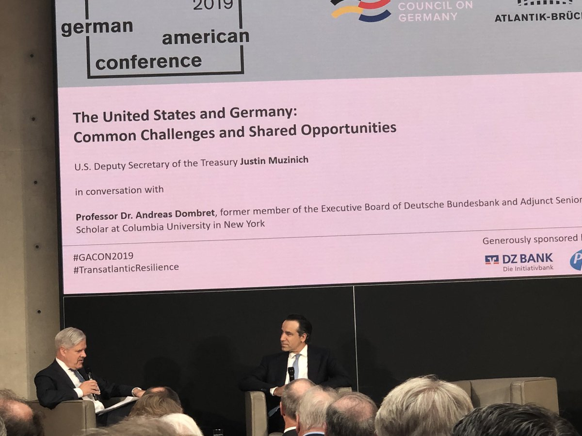 .@USTreasury Deputy Justin Muzinich just returned from #G20 in #Fukuoka He supports multilateral cooperation on improving corporate taxation and appreciates @OECD and in particular German efforts on that issue. #GACON2019 #TransatlanticResilience