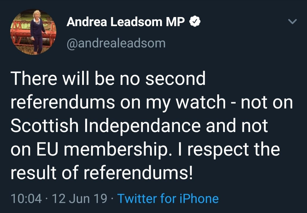Tweet from Andrea Leadsom, 12th June 2019: There will be no second referendums on my watch - not on Scottish Independance and not on EU membership. I respect the result of referendums!