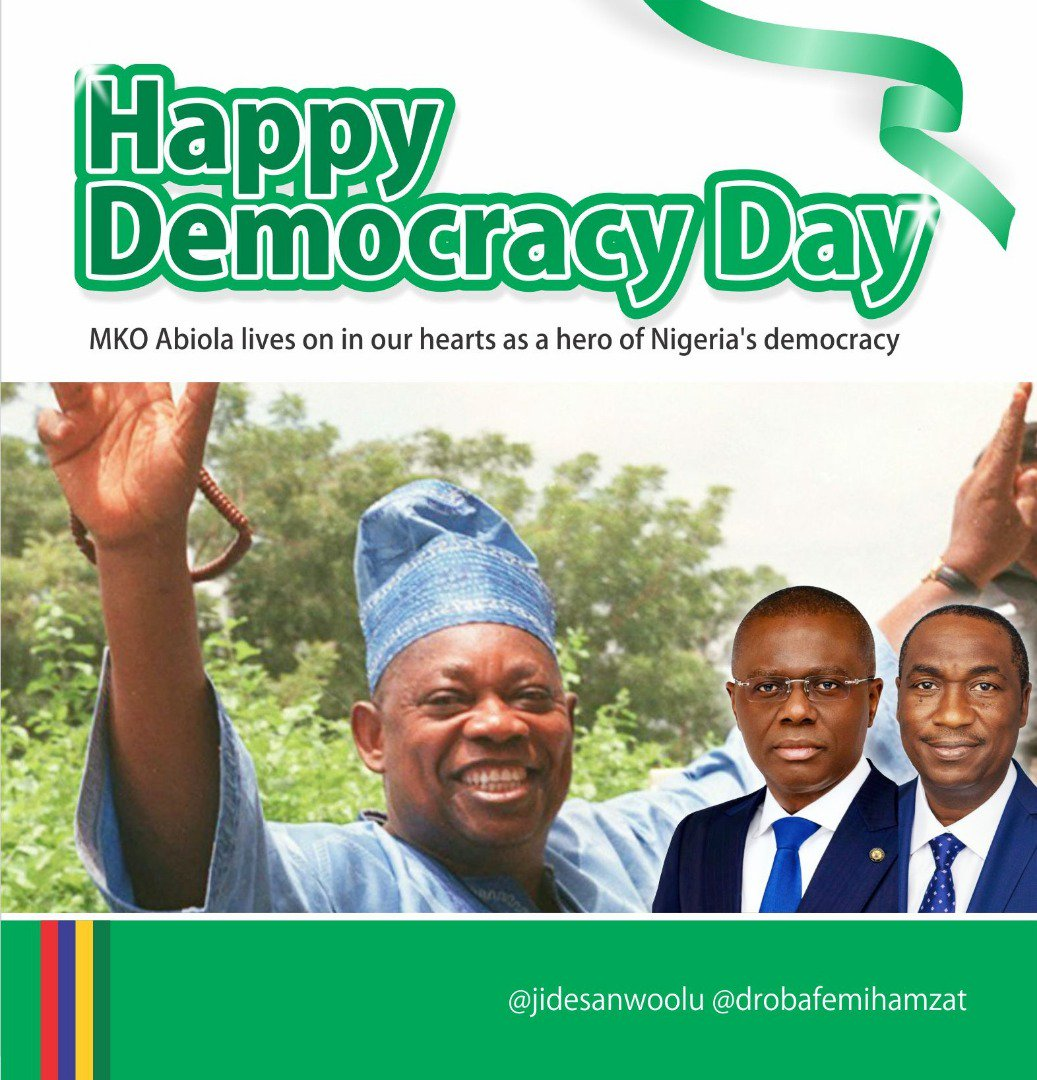 "Happy #DemocracyDay Nigeria.  Thank you H.E @MBuhari for rewriting our history and bringing alive the words of our national anthem.   ""The labour of our heroes past. Shall never be in vain. To serve with heart and might. One nation bound in freedom, peace and unity"".   #June12 <br>http://pic.twitter.com/399kfTxm6a"