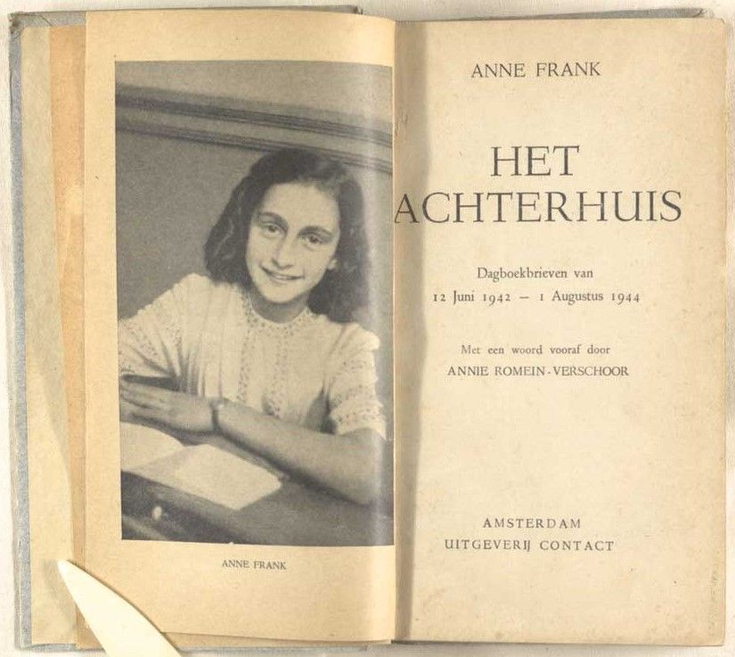 """""""I know what I want, I have a goal, an opinion, I have a religion and love."""" Today would have been #AnneFrank's 90th birthday. In our #collection we have a copy of the very first edition of her diary, published in #Amsterdam in 1947.  http:// bit.ly/2WzdI2T     #IStandWithAnne #OTD<br>http://pic.twitter.com/bjRPXmAk3i"""