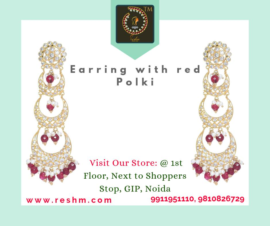 Gold Earring with red Polki by Reshamm Shop now:  or Visit our store @ 1st Floor Next to Shoppers Stop GIP Noida #reshamm #Lightweightgoldjewellery #jewelleryinnoida #jewelleryindelhi #jewelleryinncr #goldlovers #jewelleryfans #fashion #designerjewellery