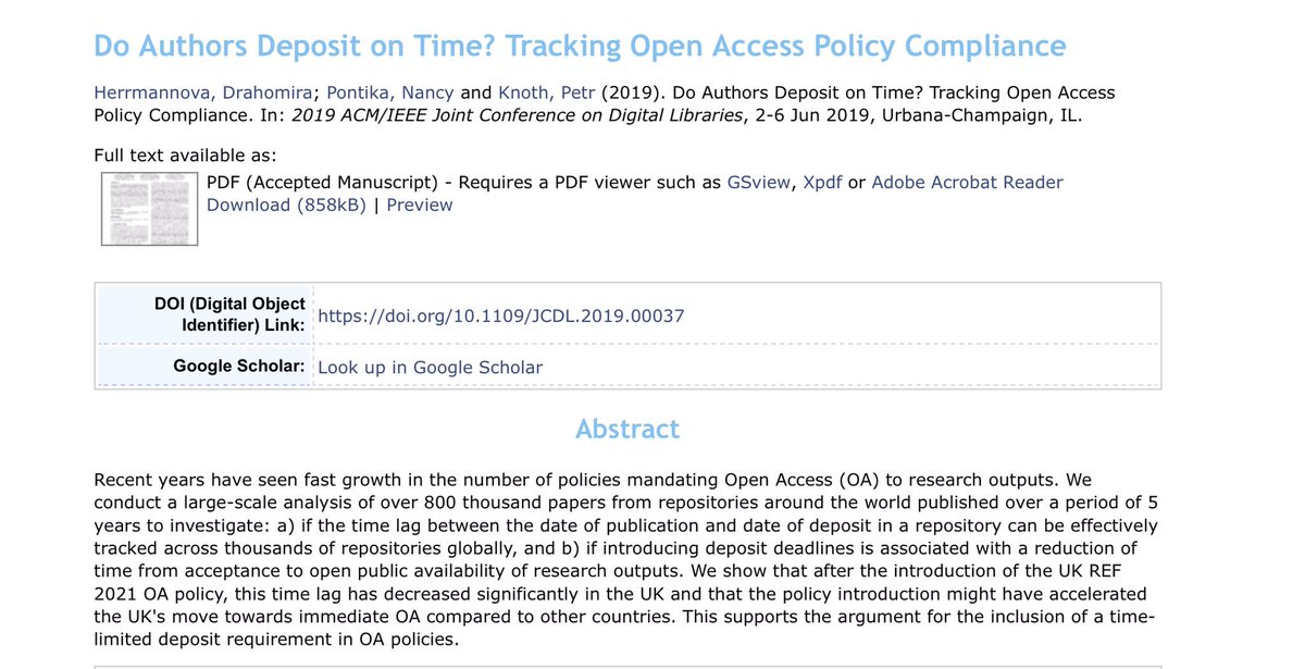 """. @petrknoth """"We don't need Open Access. We need fast Open Access"""" Full paper at http://oro.open.ac.uk/60478/ #OpenRepo2019"""