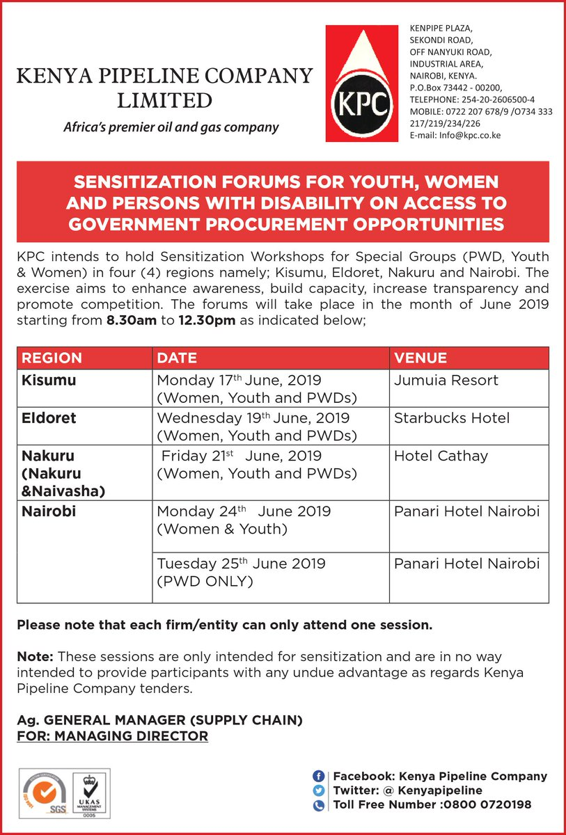 Kenya Pipeline Company (@kenyapipeline) has organized sensitization forums for Youth, Women and Persons with Disability on access to government procurement opportunities. Check the dates set aside for your region