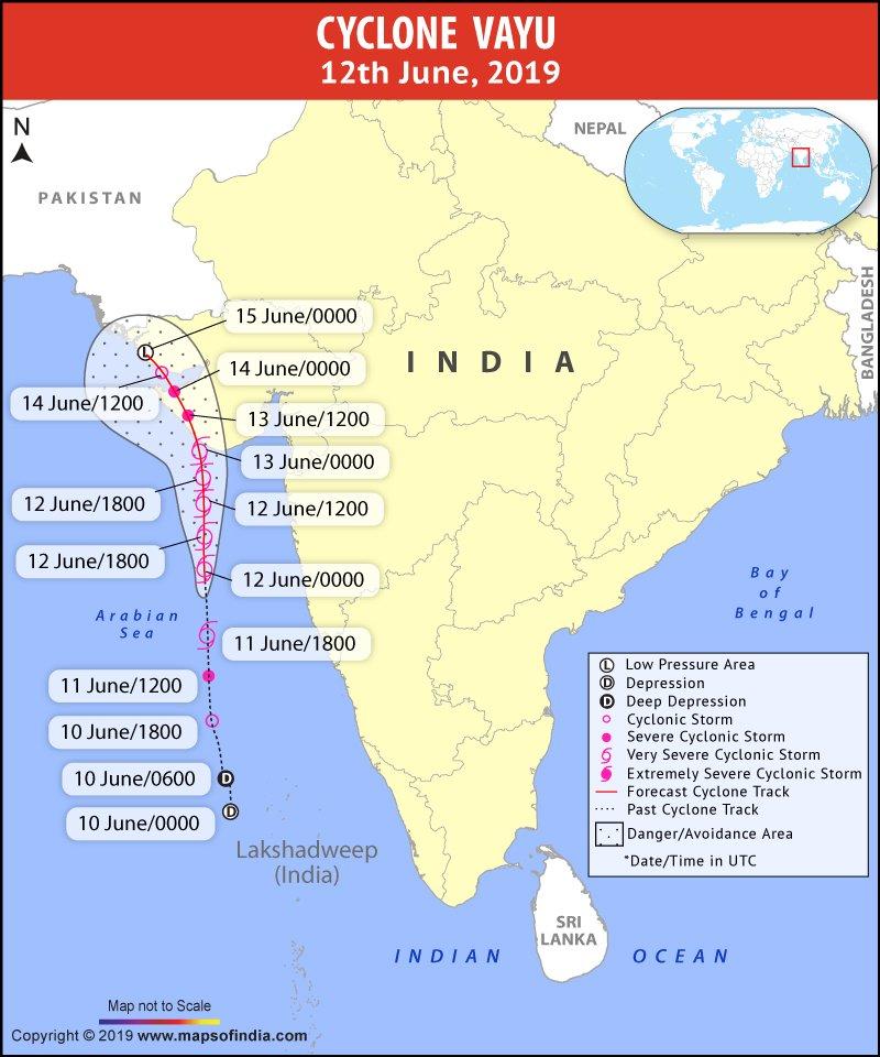 Cyclone Vayu Map