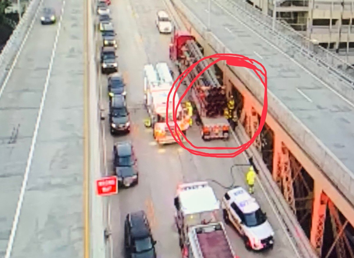 TRAFFIC ALERT: Outbound lanes of the Liberty Bridge are closed due to a vehicle being trapped between a tractor trailer and the jersey barrier. Inbound traffic is very slow as it is down to one lane.