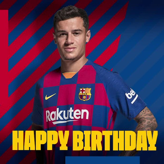   Happy birthday and congratulations to Philippe Coutinho, who turns 27 today.