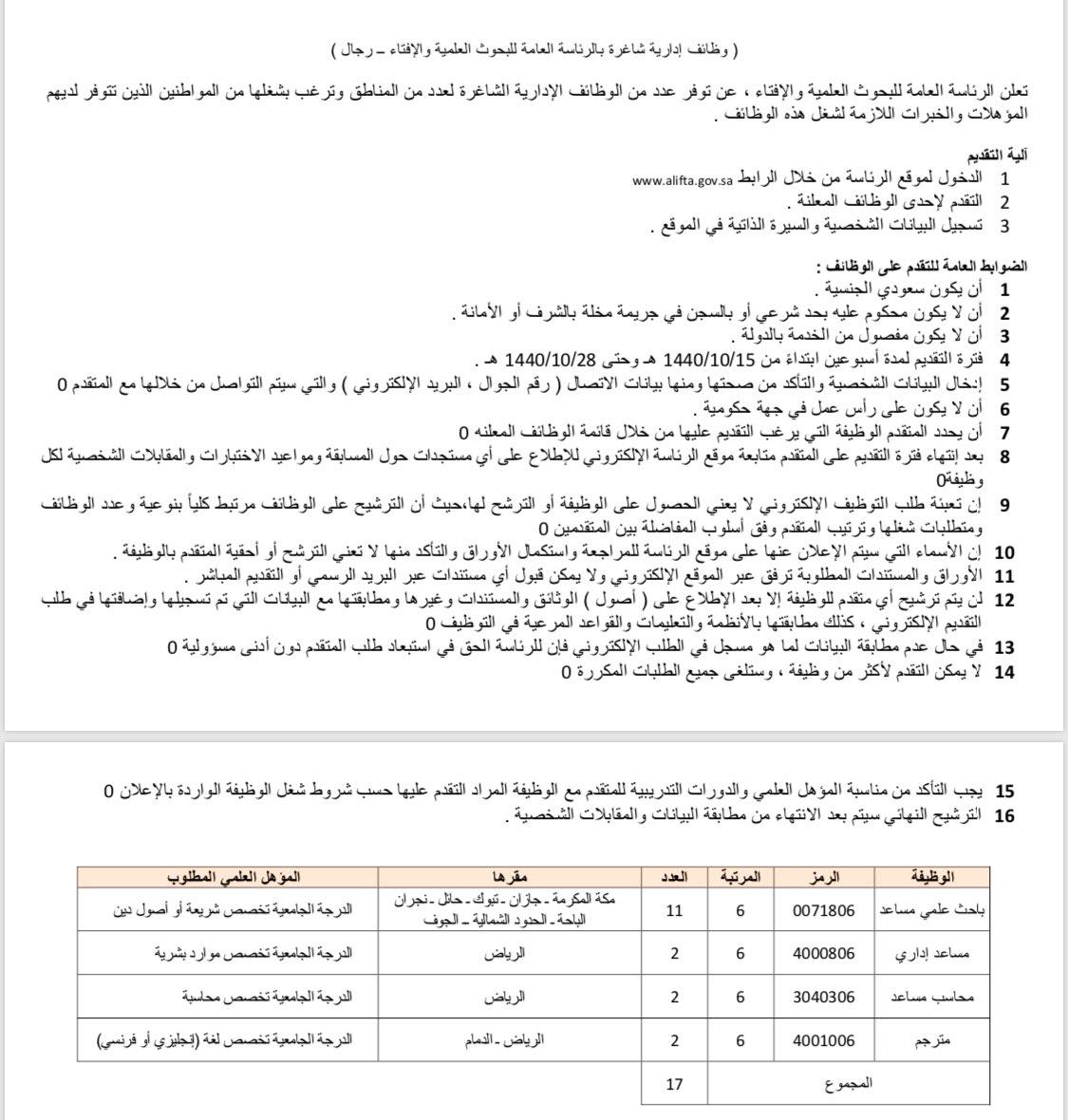 وظائف الرئاسة العامة للبحوث العلمية والإفتاء