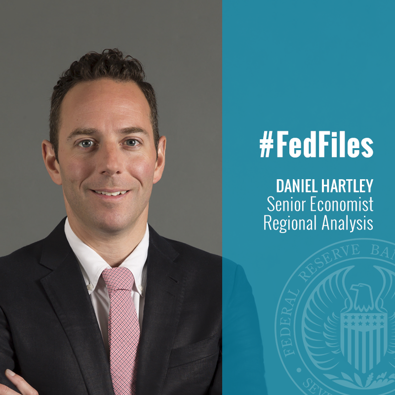 #FedFiles: Dan Hartley is a senior economist on our regional analysis team. He studies topics related to insurance, #financial and urban economics issues and was a co-author on our recent paper that explored HOLC #redlining maps of the 1930s. https://bit.ly/2Wv2x6C
