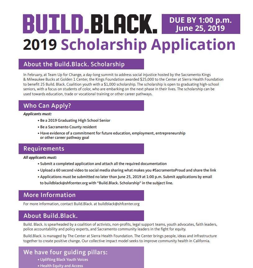 Made possible by @kings_community, @buildblack10 is awarding 25 $1,000 scholarships to graduating high-school seniors, with a focus on students of color, to be used for education, trade or vocational training or other career pathways. Apply today!: https://buildblack.org/wp-content/uploads/2019/06/Build.Black_.Scholarship.pdf…