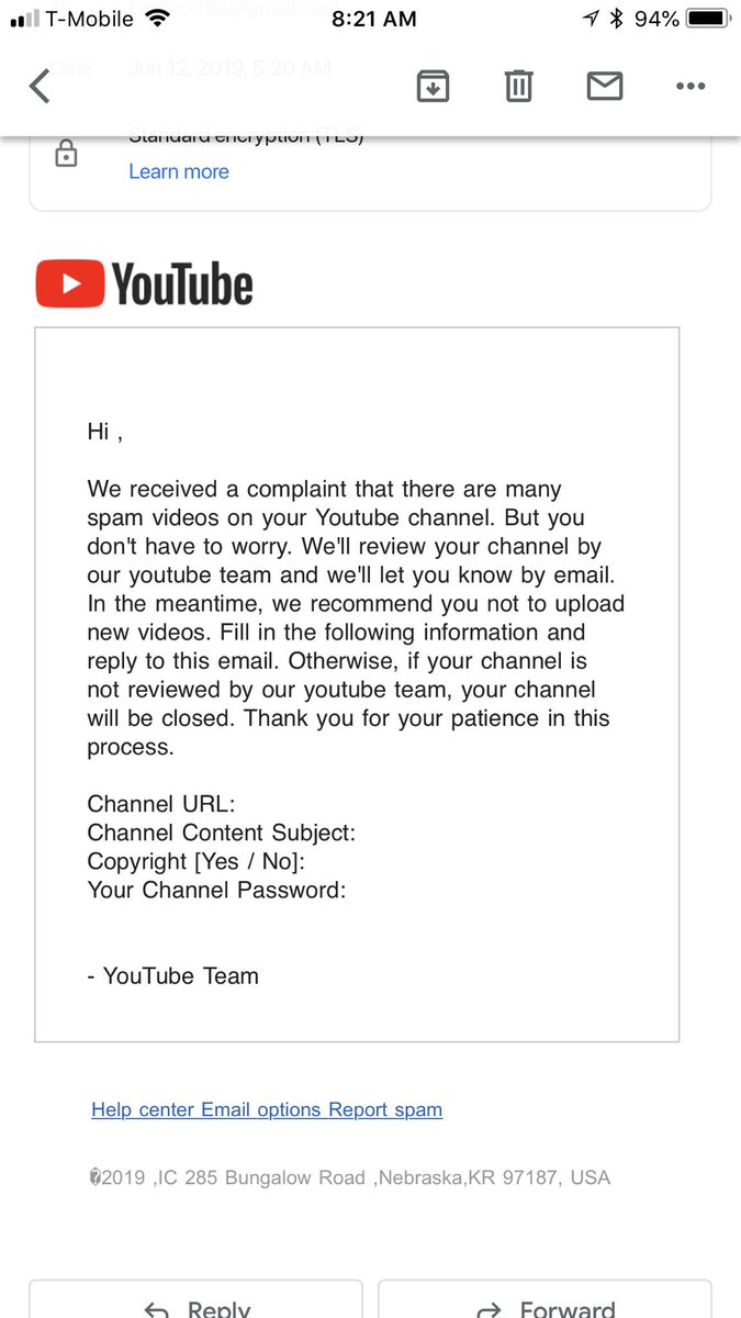 Nice little scam. Always verify/never give out passwords.  #scam #ScamAlert #Youtube @YTCreators @YouTubeGaming @Youtube