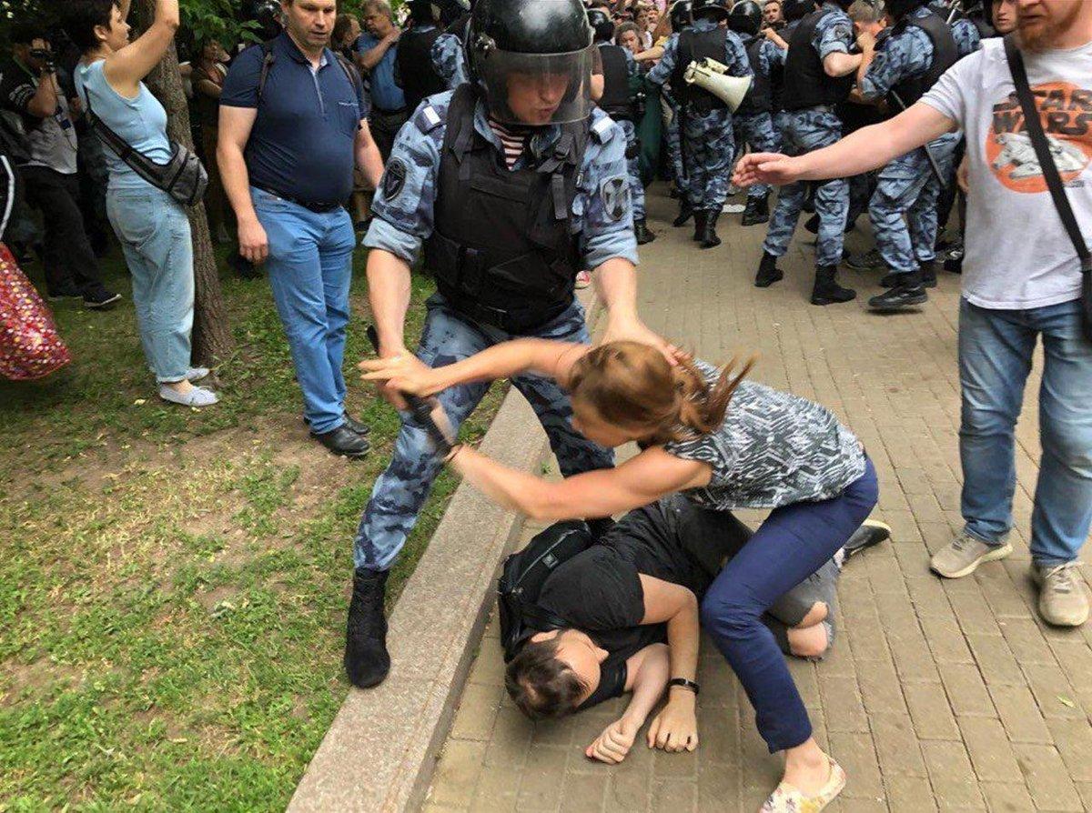Избиение протестующих Москва 27 07 2019