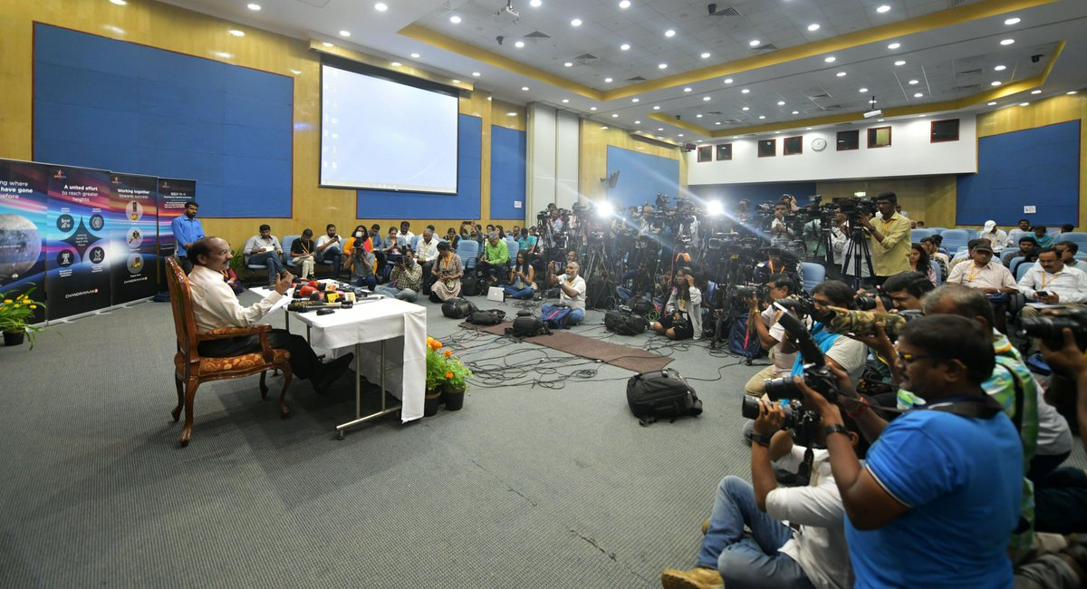 """🇮🇳#ISROMissions 🇮🇳#Chandrayaan2""""The launch of Chandrayaan-2 is planned on July 15, 2019 at 02.51 Hrs from Sriharikota. Soft landing of Vikram lander on lunar surface is likely to be on September 06, 2019"""" Dr K Sivan announced in today's Press Meet"""