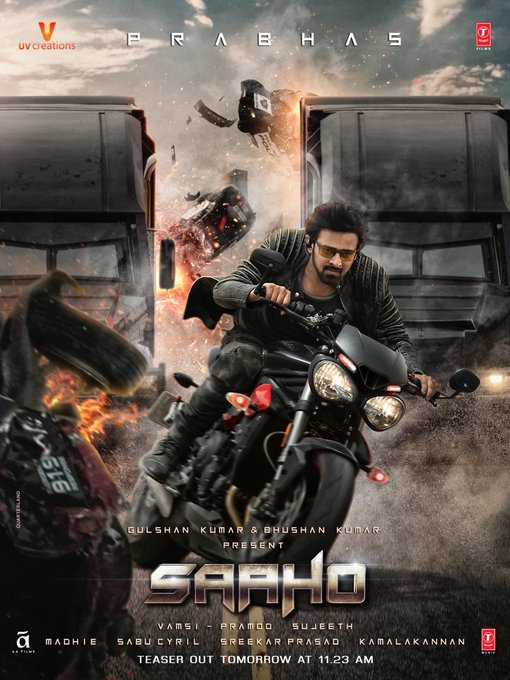 Get ready for the glimpse of India's biggest action entertainer! 👊🖤❤️  #SaahoTeaser out at 11:23 AM tomorrow