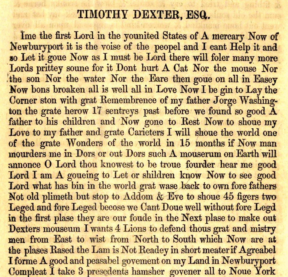 "Haggard Hawks 📚🦅 on Twitter: ""The American eccentric Lord Timothy Dexter's 1802 book 'A Pickle for the Knowing Ones' contained almost no punctuation. When readers complained, he published a second edition containing"
