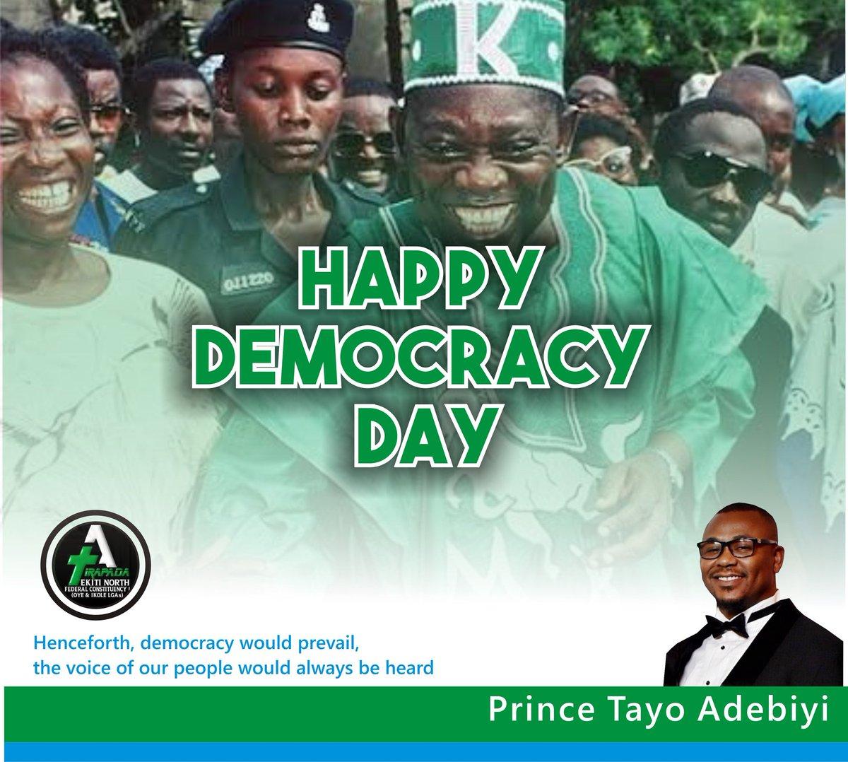 Congratulations Nigeria! Our freedom to choose is worth celebrating! #HappyDemocracyDay   @NGRPresident @MBuhari @NGRSenate @nassnigeria @AsiwajuTinubu @ProfOsinbajo @GovEkiti @kfayemi @bisiafayemi @femigbaja @purrples @Mofiobafemi @jidesanwoolu @dabiodunMFR @HFatoba @BafemEkiti<br>http://pic.twitter.com/mFC13tKkd2