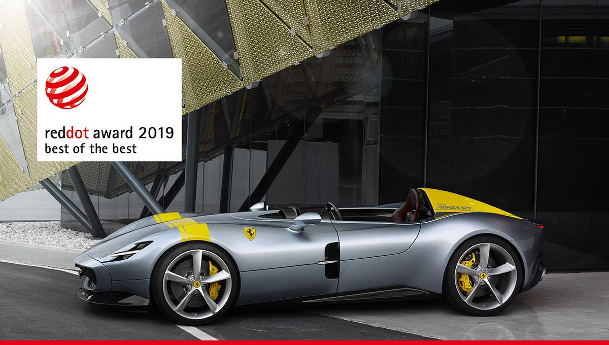 "The #FerrariMonzaSP1 takes the prestigious ""Red Dot: Best of the Best"" 2019 award for its innovative and aesthetically outstanding design. @reddot #RedDotAward"