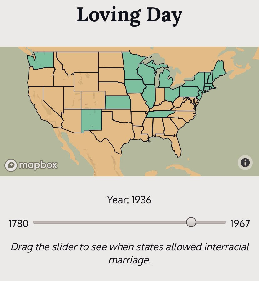 Happy #LovingDay everyone! We celebrate Mildred and Richard Loving perseverance to be together despite laws that prohibited interracial marriage. We worked on this rad project with @CodeforDC to visualize how those laws SLOWLY changed over time. http://bit.ly/lovingmap
